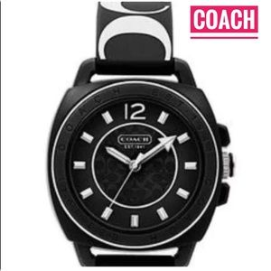 NWT coach black white logo silicone watch